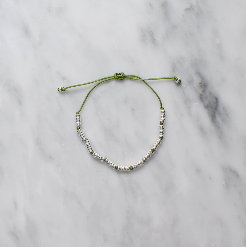 olive green nylon and sterling silver bracelet