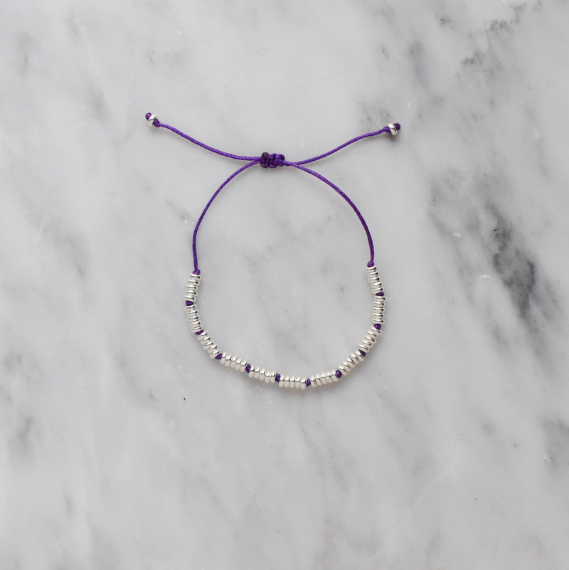 violet nylon and sterling silver bracelet