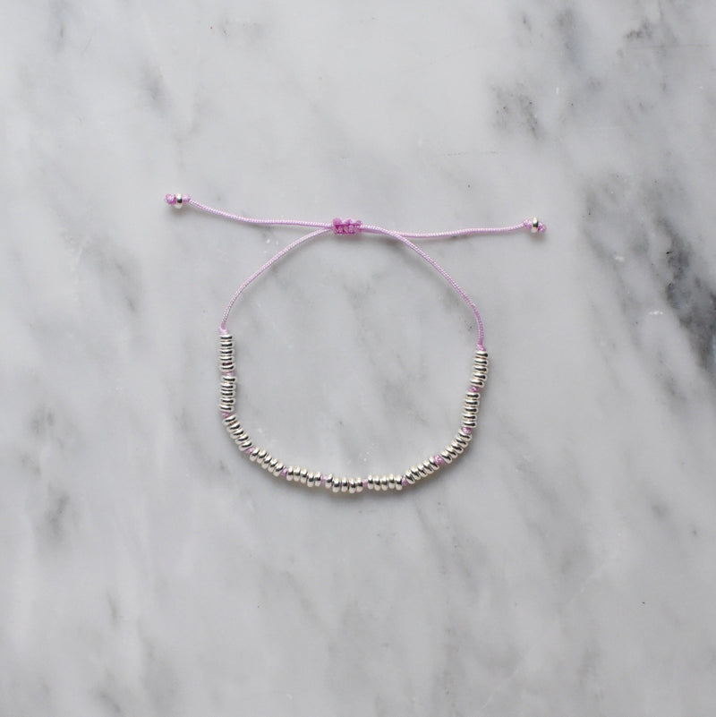 lilac nylon and sterling silver bracelet