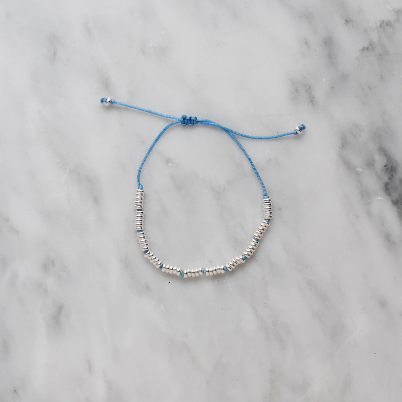 indigo nylon and sterling silver bracelet
