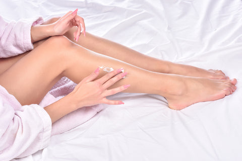 body cream on smooth legs