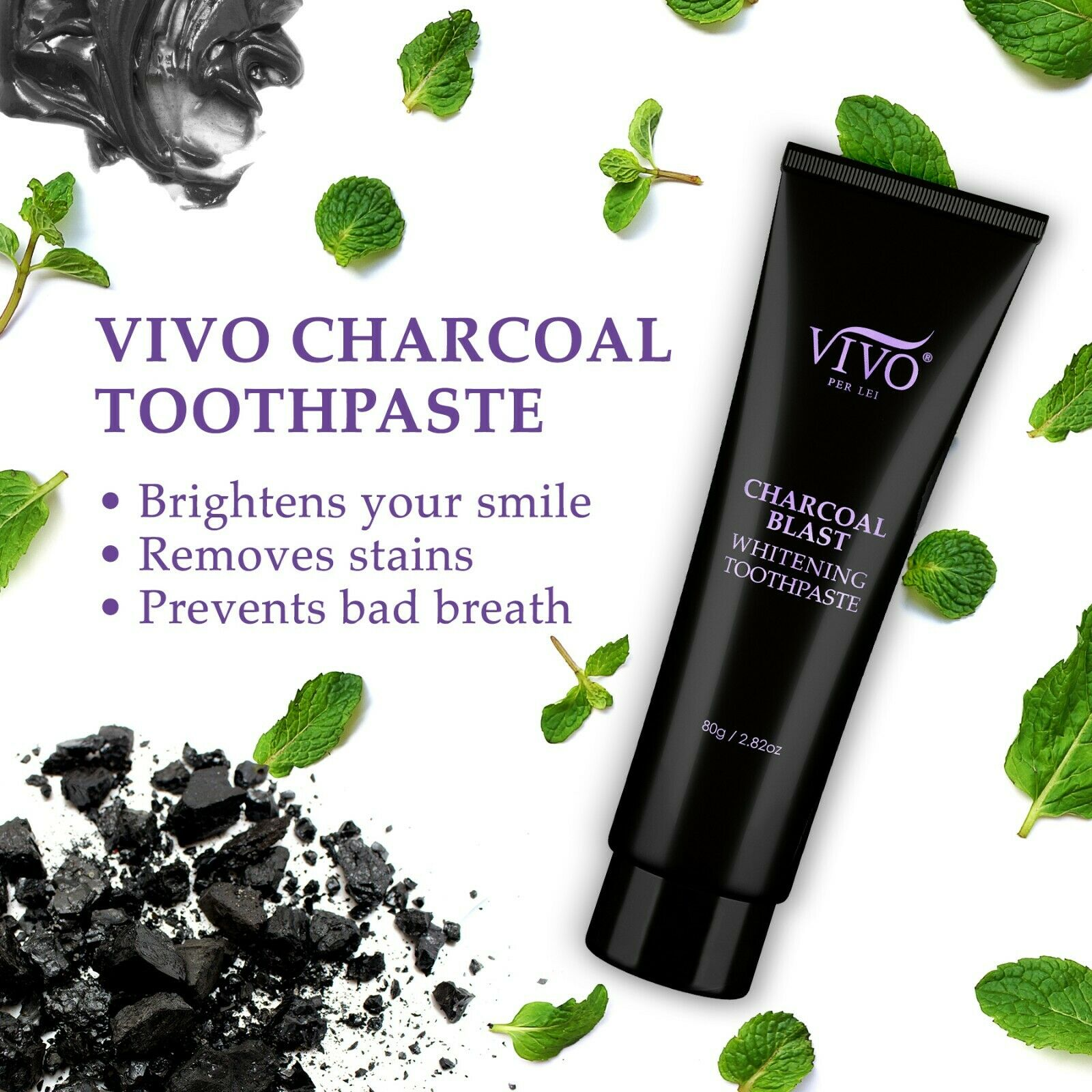 Vivo Per Lei Activated Charcoal Toothpaste Teeth Whitening Mint Stain Remover
