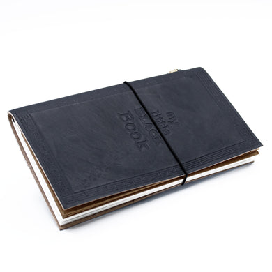 Handmade Leather Journal - My Little Black Book - Black (80 pages)