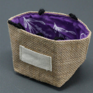 Natural Jute Cotton Gift Bag - Lavender Lining - Small
