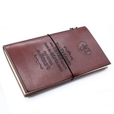 Handmade Leather Journal - True Friends - Brown (80 pages)