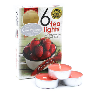 Set of 6 Scented Tealights - Strawberry