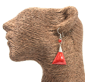 Coral Style Silver Earrings - Triangle Double Drop