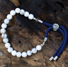 Load image into Gallery viewer, 925 Silver Plated Gemstone Navy String Bracelet - White Howlite