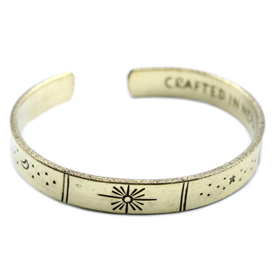 Inspiration Bracelet - Brass Sunrise, Galaxy, Stars, Earth