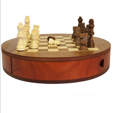 Round wooden chess set with draws - 30cm