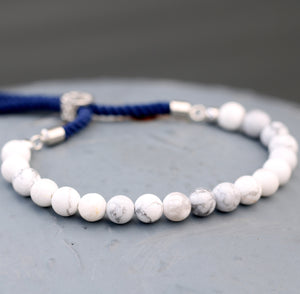 925 Silver Plated Gemstone Navy String Bracelet - White Howlite
