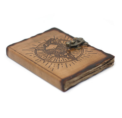 Leather Pentagon & Skull with Burns Detail Notebook (7x5