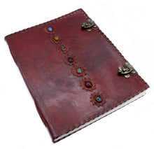 Load image into Gallery viewer, Huge 7 Chakra Leather Book - 10x13 (200 pages)