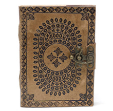 "Load image into Gallery viewer, Leather Blue Mandala Notebook (7x5"")"