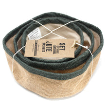 Load image into Gallery viewer, Set of 3 Natural Jute Baskets - Charcoal