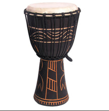 Load image into Gallery viewer, Dark Carved Good Quality Djembe 50cm