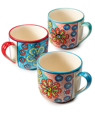 Hand Painted Ceramic Giant Mug, Daisy Design Set of 4