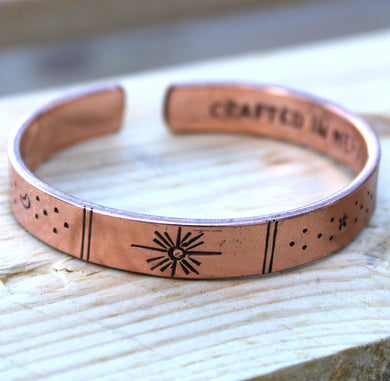 Inspiration Bracelet - Copper Sunrise, Galaxy, Stars, Earth
