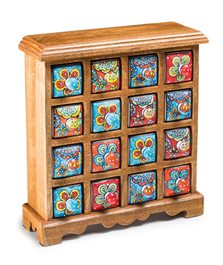 16 Drawer Ceramic Storage Chest, Mango Wood