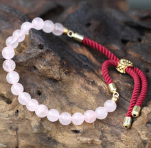 Load image into Gallery viewer, 18K Gold Plated Gemstone Bordeaux String Bracelet - Rose Quartz