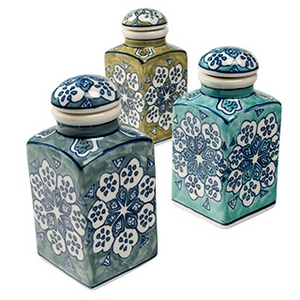 Hand Painted Ceramic Spice Jar Set Of 3