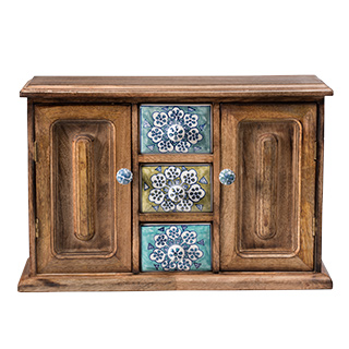 Hand Painted Ceramic 3 Drawer Cabinet, Mango Wood