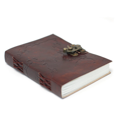 Leather World Map & Stitching Notebook (7x5