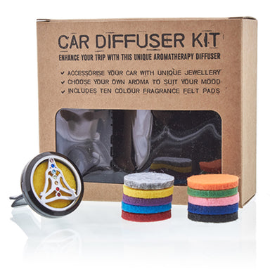 Car Diffuser Kit - Pewter Yoga Chakra - 30mm