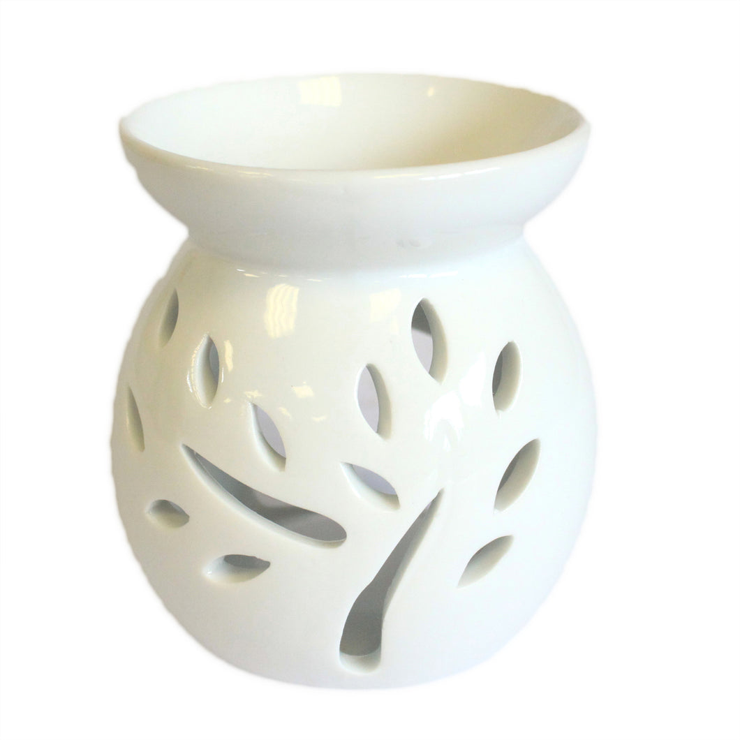 Small Classic White Oil Burner - Tree Cut-out - Muneragifts.co.uk