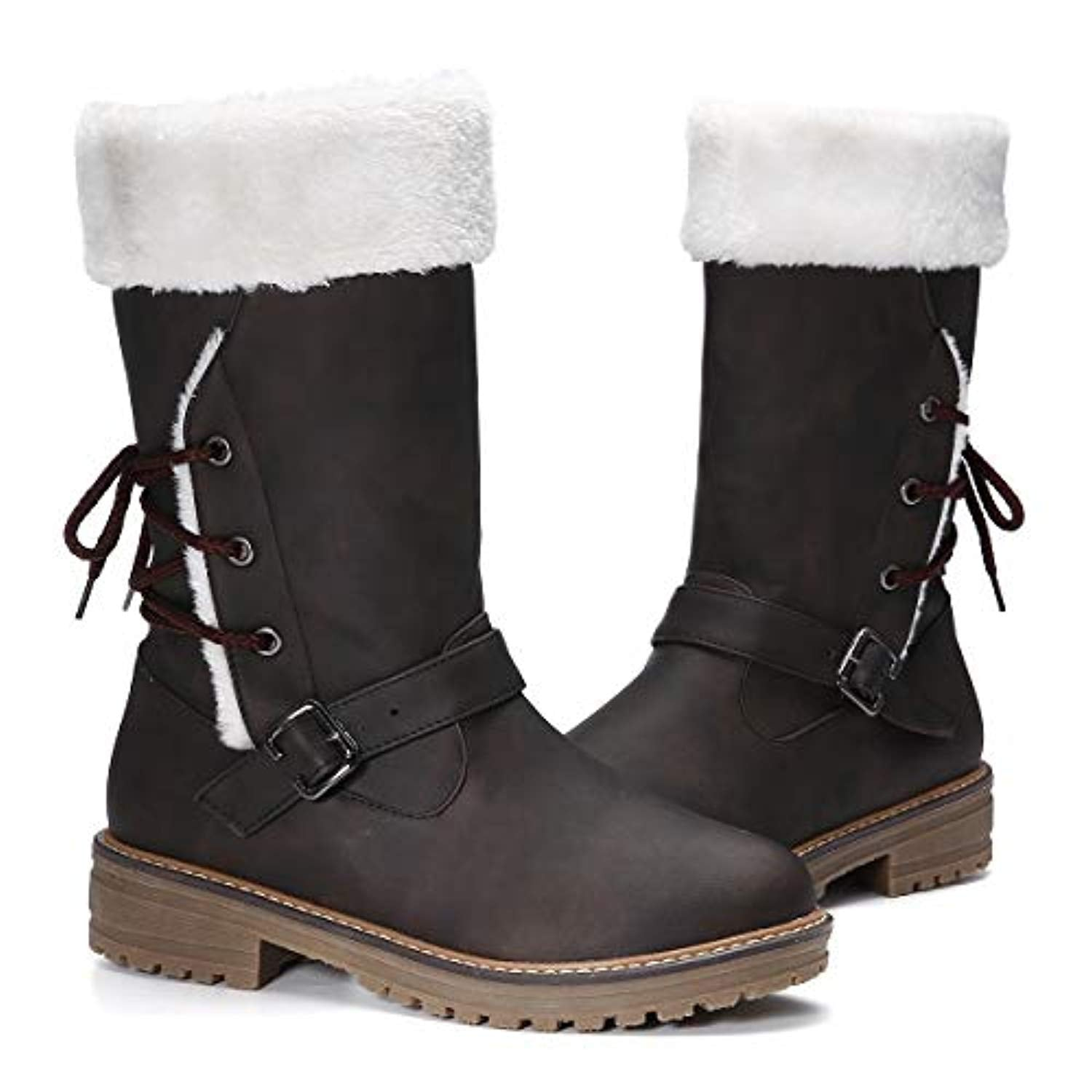 28c5e3e62d0ee gracosy Women's Snow Boots, Leather Ankle Bootie Warm Flat Fur Lined Boot  Winter Outdoor Mid Calf Boots Lace up Slip on