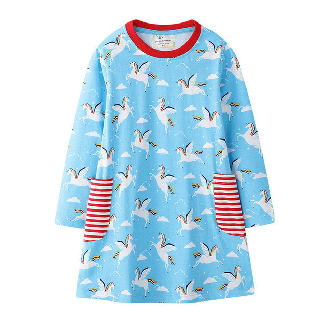 Blue dress with unicorns