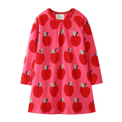 Red and pink dress with apples on it
