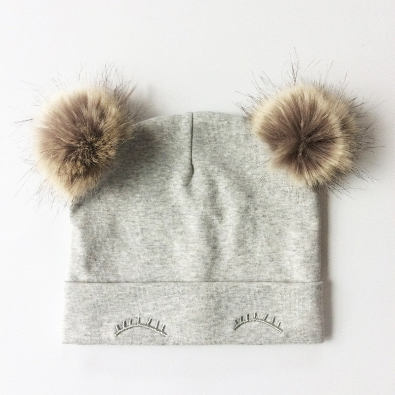 White Double Pom Pom Hat
