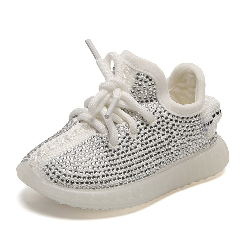 White Rhinestone Baby Shoes