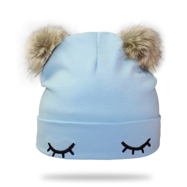 Blue Double Pom Pom Hat