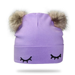 Purple Double Pom Pom Hat