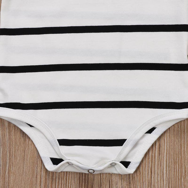 Stripe Ruffle Romper White - lottie-and-lane