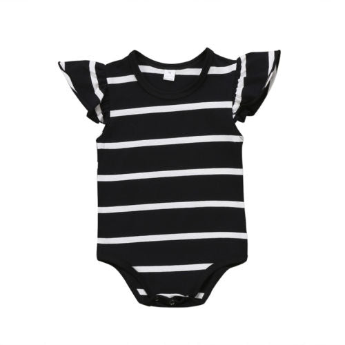 Stripe Ruffle Romper Black - lottie-and-lane