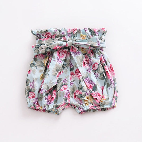 High Waisted Bow Shorts Floral - lottie-and-lane