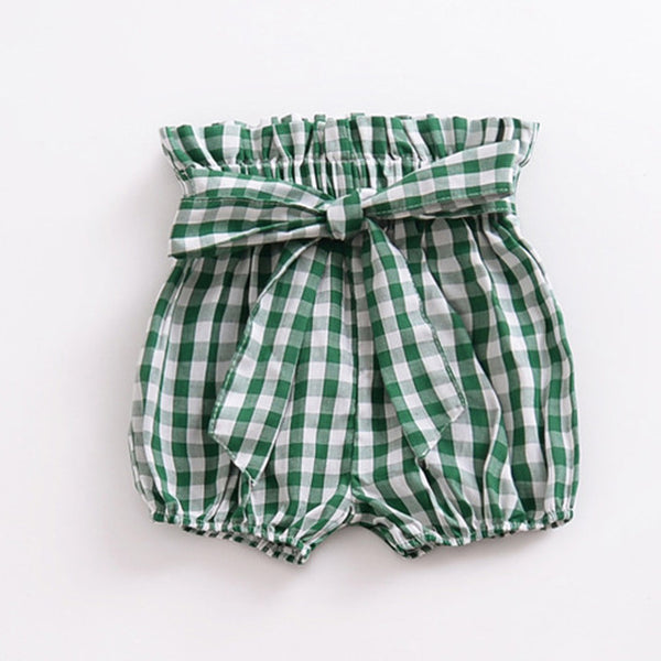 High Waisted Bow Shorts Gingham - lottie-and-lane