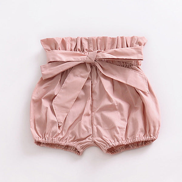 High Waisted Bow Shorts Pink - lottie-and-lane