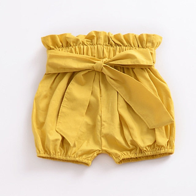 High Waisted Bow Shorts Yellow - lottie-and-lane