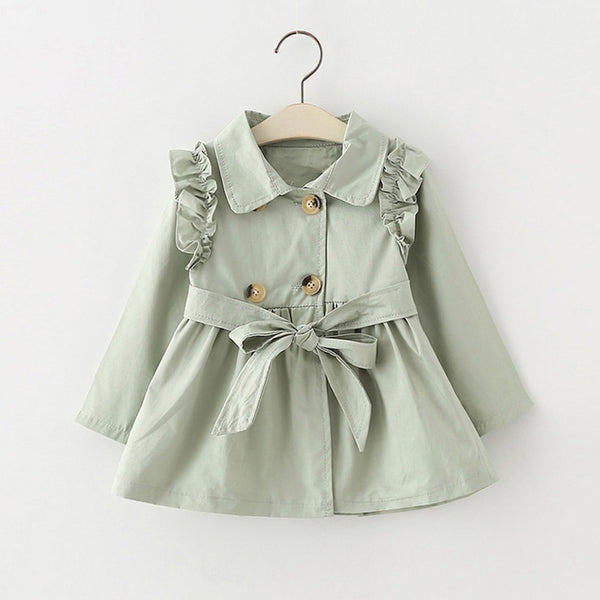 Girls trench coat green