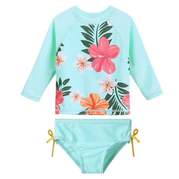 Blue two peice long sleeve Hawaiian print bathing suit Swimsuit UPF50+ UV Protective material