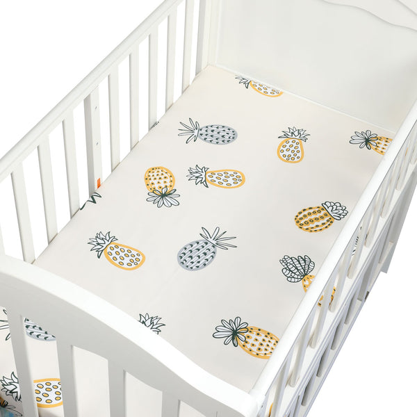 Organic Cotton Crib Sheet in Pineapple Design - lottie-and-lane