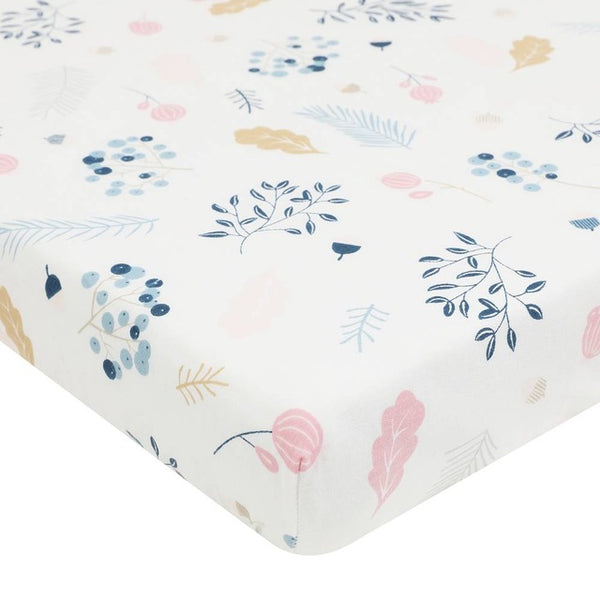 Organic Cotton Crib Sheet in Floral Design - lottie-and-lane