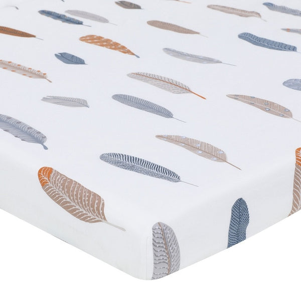 Organic Cotton Crib Sheet in Feather Design - lottie-and-lane