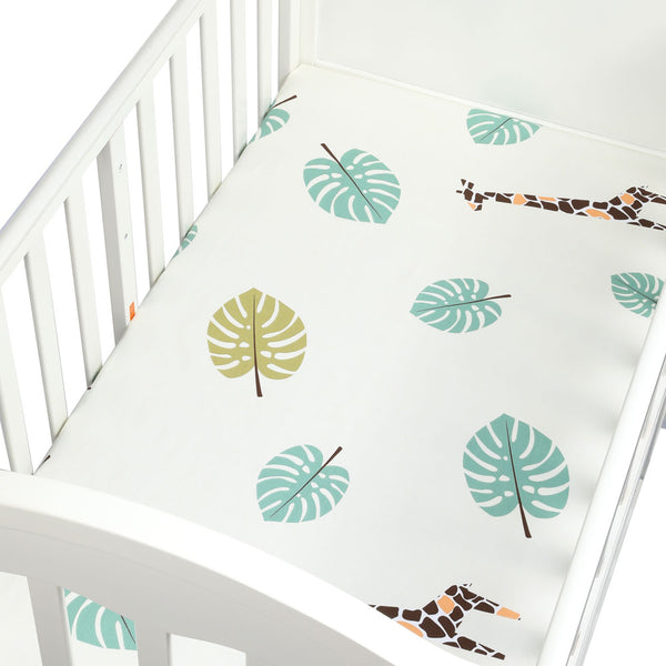 Organic Cotton Crib Sheet in Giraffe Design - lottie-and-lane