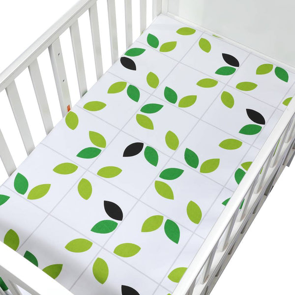Organic Cotton Crib Sheet in Lemon Lime Design - lottie-and-lane