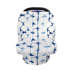 Blue Geo Nursing and Car Seat Cover - lottie-and-lane